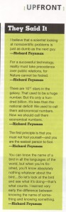 Feynman's quotes in the July 2001 issue of Linux Journal